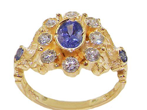 Tanzanite Diamond Cluster Ring (18k Yellow Gold Natural Tanzanite and Diamond Womens Cluster Ring (0.3 cttw, H-I Color, I2-I3 Clarity))