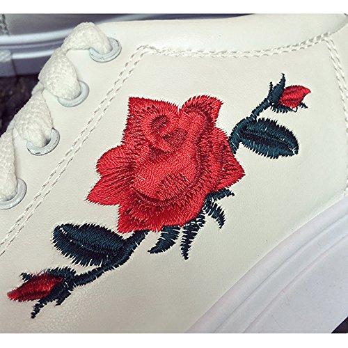 Fleurs Chaussures Brodées Décontractées Mode noir Juleya Avec Blanc Blanc Lacets Basses À Femme rose Baskets Pour Femmes La FOIq7w
