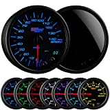 GlowShift Tinted 7 Color 140 MPH Speedometer Gauge - Mounts In Custom Dashboard - Resettable Trip Meter - Black Dial - Smoked Lens - 3-3/4'' 95mm