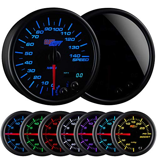 (GlowShift Tinted 7 Color 140 MPH Speedometer Gauge - Mounts In Custom Dashboard - Resettable Trip Meter - Black Dial - Smoked Lens - 3-3/4