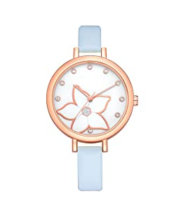 Watches For Women,POTO Quartz Womens Waches Clearance On Sales Casual World Map Pattern Luxury Stainless Steel Round Wristwatch Womens Leather Band Analog Alloy Wrist Watch For Ladies (Blue)