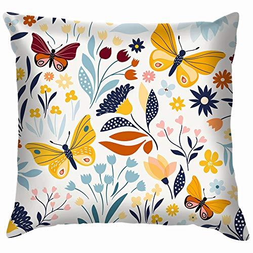 Floral Design Vector Throw Pillow Case Cushion Cover Pillowcase Watercolor for Couch 12X12 Inch