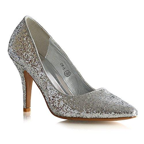 Essex Glam Donna Scarpe A Punta Chiusa Scarpe Con Tacco A Spillo Pumps Glitter Argento