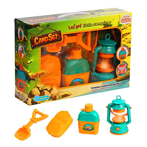 QuadPro camping toys gear kids pretend play camp set learning tools includes camping light, kettle, First aid kit, Shovel, Stem Outdoor Toys for Boys and Girl