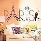 "Ufengke® Romantic ""Paris"" Eiffel Tower Wall Decals, Living Room Bedroom Removable Wall Stickers Murals"