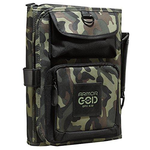 "Tri-Fold Camo Bible / Book Organizer w/""Armor of God"" Badge - Ephesians 6:13 (Large)"