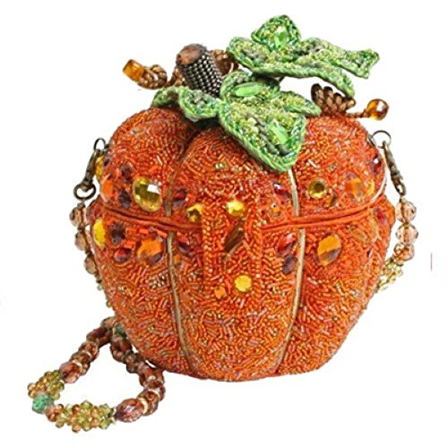 Mary Frances After Midnight Halloween Autumn Fall Beaded Crystal Jeweled Pumpkin Purse Handbag