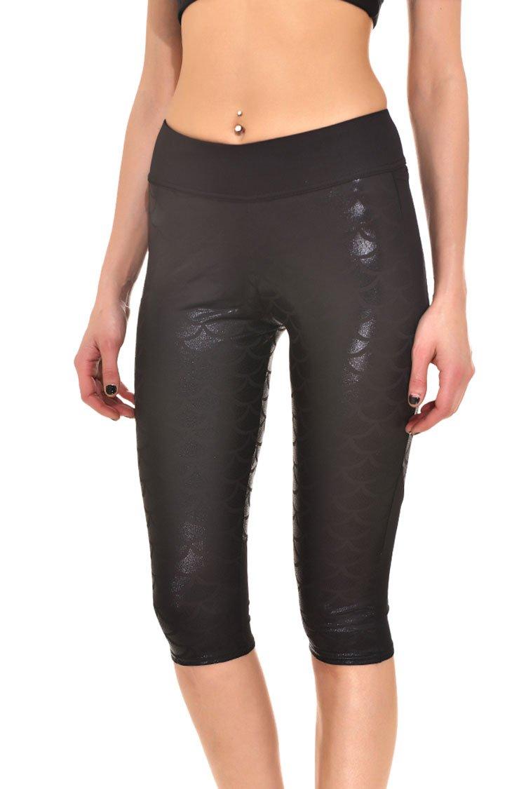 Lacostew Girl's Shine Fish Scale Capri Leggings Stretchy Tight Pants M