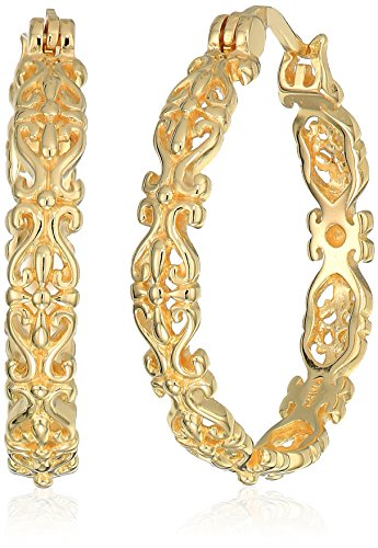 - 18k Yellow Gold Plated Sterling Silver Filigree Round Hoop Earrings