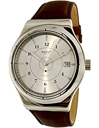 Swatch Men's Sistem51 Irony YIS400 Brown Leather Swiss Automatic Watch