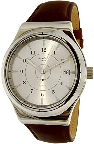 Swatch-Mens-Sistem51-Irony-YIS400-Brown-Leather-Swiss-Automatic-Watch