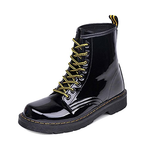 Women Retro Martin Short Boots Leather Flat Heel Winter Warm Casual Shoelace Ankle Shoes 36