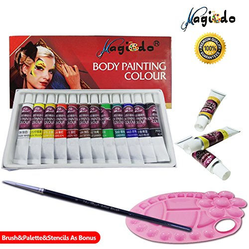 Magicdo® 12 Cols Face and Body Paint, Clown Makeup Kit with Brush and Palette, Rich Pigment, Washable Non-Toxic Face or Body Painting For Halloween Party and Disguise (Body Painting De Halloween)