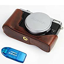 First2savvv XJD-X70-D10G10 dark brown Leather Half Camera Case Bag Cover base for FUJIFILM Fuji X70 + SD card reader