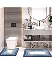 Sunhop Bathroom Rugs Bath Mat,2 Piece Microfiber Bath Mat,Non-Slip Soft Thickness Shaggy Water Absorbent Shower Carpet Rug, Machine Washable Quick Dry Ultra Shaggy Bath Rugs for Tub,Bedroom and Shower