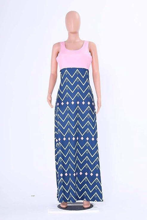 Sukienka letnia, casual, długa, z okrągłym dekoltem, rozmiary bez rękawÓw, duży nadruk, odświętna sukienka, w paski, elegancka sukienka w stylu vintage, sukienka na czas wolny: Odzie