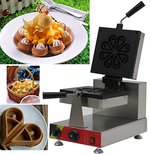 Newtry NP-899 Commercial Electric non-stick Rotate stainless steel fluid-drop shape waffle maker, flower shape waffle baker, Water Drop Waffle Toaster, Petals waffle machine (220V) (220 Petals)
