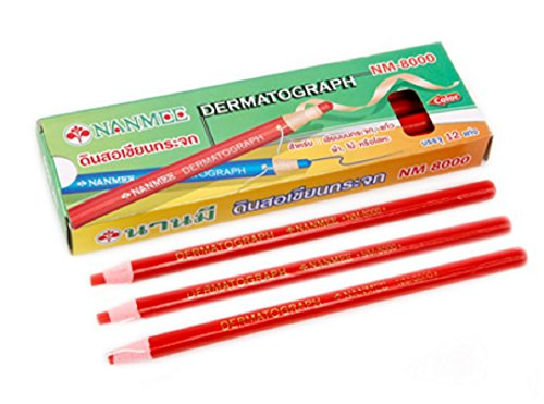nanmee-glass-making-pencil-nm-8000-red-12-pieces-box-lot-6-box