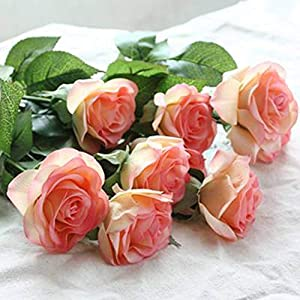 10pcs 11pcs/Lot Rose Artificial Flowers Real Touch Rose Flowers for New Year Home Wedding Decoration Party Birthday Gift,A Champagne 1,11pcs 36
