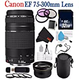 6Ave Canon EF 75-300mm f/4-5.6 III Telephoto Zoom Lens 6473A003 + 58mm 3 Piece Filter Kit + SD Card USB Reader + 32GB SDHC Class 10 Memory Card + Deluxe Lens Pouch + 58mm 2x Telephoto Lens Bundle