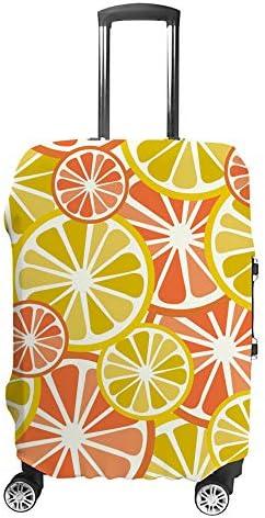 スーツケースカバー レモン オレンジ 伸縮素材 キャリーバッグ お荷物カバ 保護 傷や汚れから守る ジッパー 水洗える 旅行 出張 S/M/L/XLサイズ