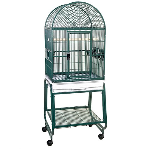 Hq Opening Dome Parrot Cage with Cart Stand, Small, Platinum, 1 Per (Hq Cage Dome Top)