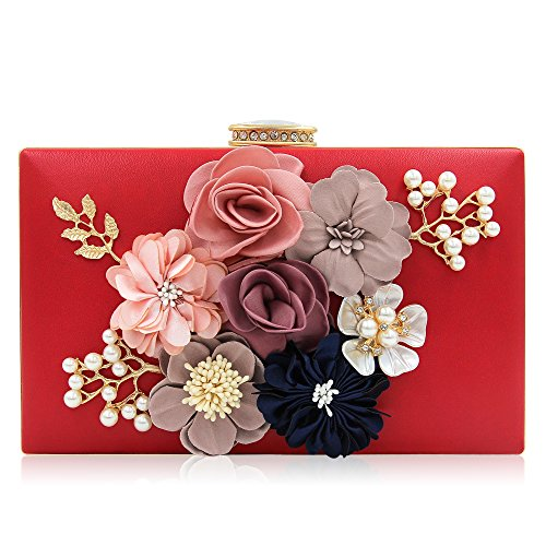 Milisente Women Flower Clutches Evening Bags Handbags Wedding Clutch Purse (Red)