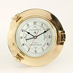 Bey-Berk International Brass Porthole Tide/Time Clock - Tarnish Proof