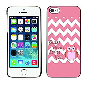 Soft Silicone Rubber Case Hard Cover Protective Accessory Compatible with Apple iPhone? 5 & 5S - chevron quote owl pink love you white