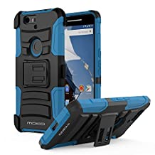 Nexus 6P Case, MoKo Shock Absorbing Hard Cover Ultra Protective Heavy Duty Case with Holster Belt Clip + Built-in Kickstand for Google Nexus 6P 5.7 Inch - Blue