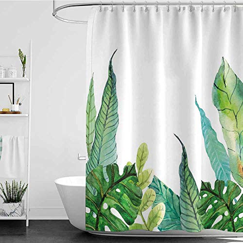 Tim1Beve Bathtub Splash Guard,Leaf Watercolor Hand Drawn Style Print Panda Banana Fragipani Tropical Trees Exotic Leaves,Single stall Shower Curtain,W55x84L Green White