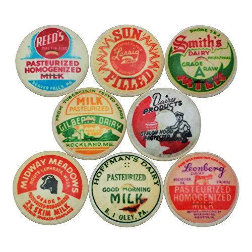 Set of 8 Milk Bottle Cap Wood Cabinet Knobs (Set 2)