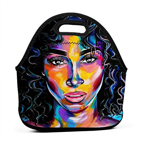 Lunch Bag Totebox Moisture Resistant Premium Lunch Container Reusable Gourmet Tote Pouch Organizer Painting Afro Lady African American Black Women Grocery Container for Women Men Kids Office Work
