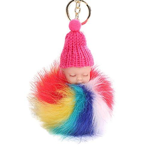 Afco Cute Sleeping Baby Doll Keychain Plush Ball Car Keyring Women Girl Bag Pendant Charm Toy Rose Red ()
