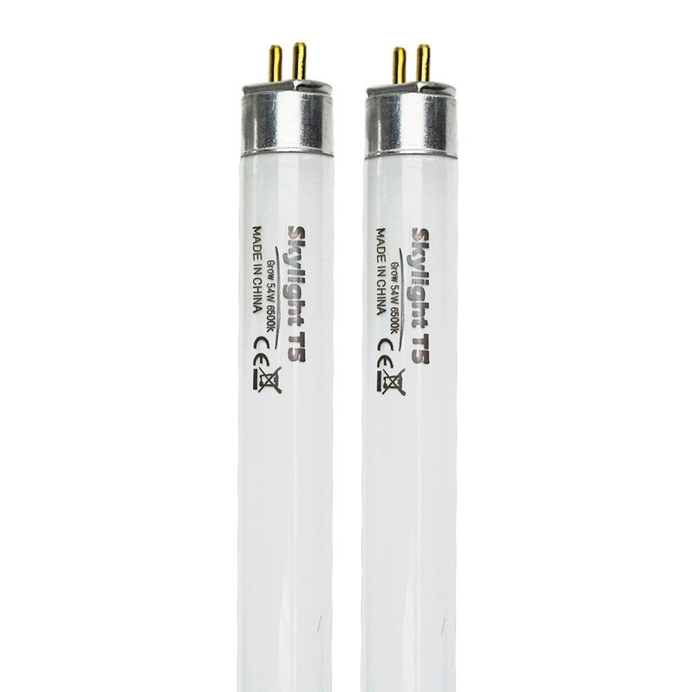 Skylight T5 Bulb 54W 4 FT High Output (HO) Fluorescent Grow Light Lamp Fixture Replacement Bulbs (2 Count, Grow 6500K Blue Cool)