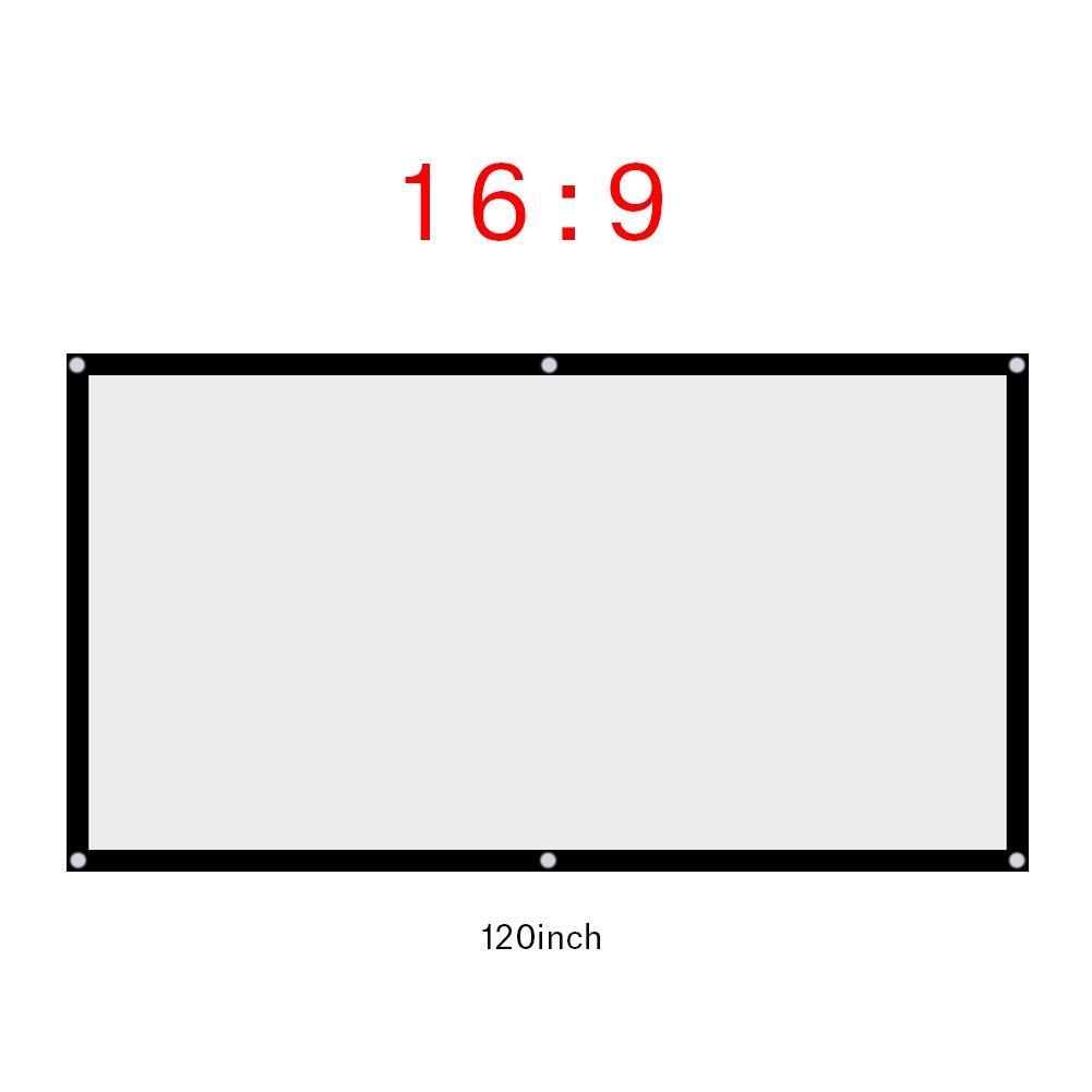 Zerone Pantalla de proyector Plegable de 16: 9, Pantalla de proyector portá til de 60/72/84/120 Pulgadas al Aire Libre sin Pliegue Plegable(60 Pulgadas)