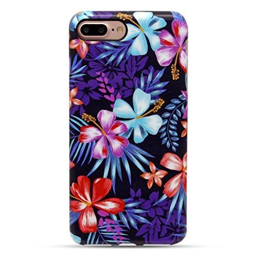 GOLINK iPhone 7 Plus Case for Girls/iPhone 8 Plus Floral Case, Matte Floral Series Slim-Fit Anti-Scratch Shock Proof Anti-Finger Print Flexible TPU Gel Case for iPhone 7/8 Plus 5.5 -Purple Hibiscus