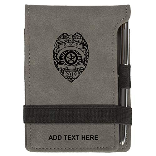 Personalized Police Dept Badge Mini Notepad Holder Set for Business Professionals - Small Flip Jotter Notebook Case - Includes Mini Note Pad and Pen to Jot Notes and Writing To Do List, Gray
