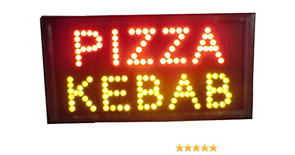 LETRERO CARTEL LUZ LUMINOSO LED – PIZZA KEBAB. IDEAL PARA ESCAPARATE