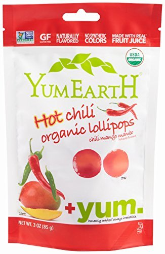 YumEarth Organic Hot Chili Lollipops, 3 Ounce Pouches ( Packaging May Vary ) (Pack of 6) by YummyEarth