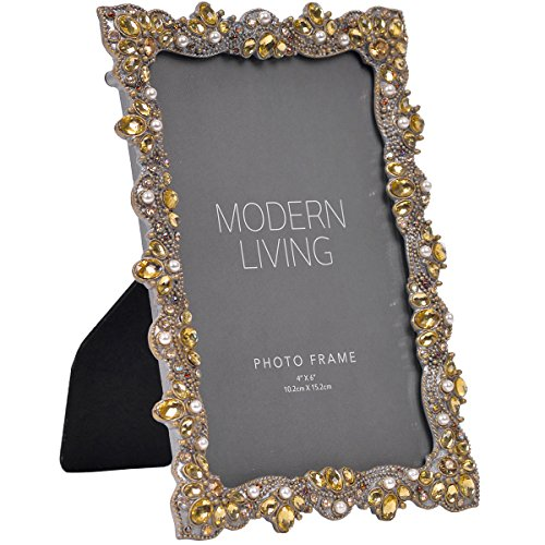 Vintage Pewter Finish - NIKKY HOME Retro Vintage Pearl Jeweled Picture Frame Pewter Finish for 4 x 6 Inch Photos