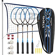 Fostoy Badminton Racquets,Lightweight Carbon Fiber Badminton Rackets Set for Adult and Children, Badminton Rac