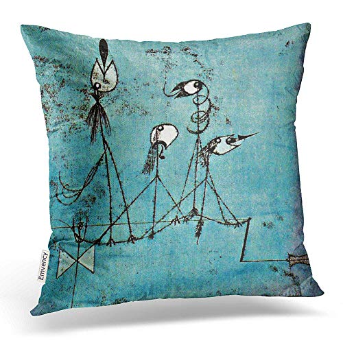 Emvency Square 16x16 Inches Decorative Pillowcases Art Paul Klee Art Twittering Machine Cotton Polyester Decor Throw Pillow Cover with Hidden Zipper for Bedroom Sofa