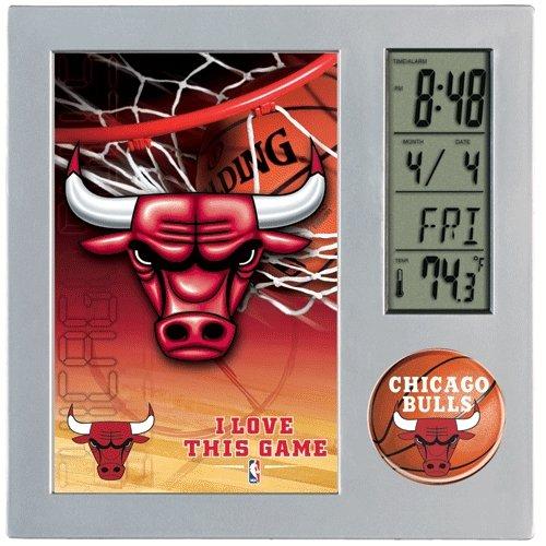 WinCraft NBA Chicago Bulls Desk Clock, Black
