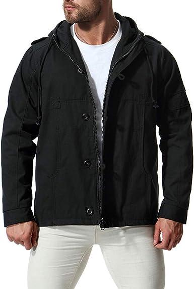 SoonerQuicker Abrigo para Hombre Parka 2019 Gabardina de Moda Chaqueta Larga de Invierno Abrigo de algodón Militar con Capucha(Negro, L: Amazon.es: Ropa y accesorios