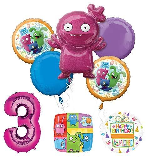Mayflower Products アグリー人形 3歳の誕生日パーティー用品 バルーンブーケデコレーション   B07P6T5MM4