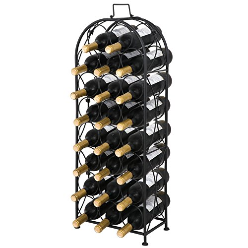 Smartxchoices Black Arched Wine Rack French Style Free-Standing Floor Steel Wine Storage Holder Stand NO Assembly Required