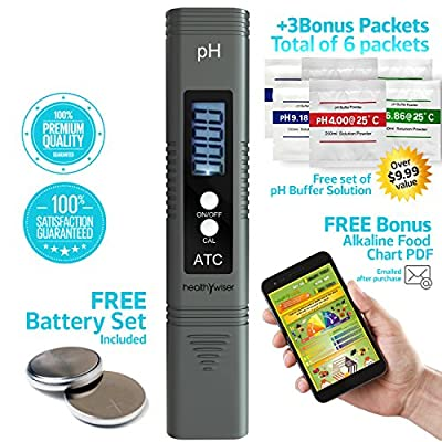 HealthyWiser Digital pH Meter + Free Extra Set of pH buffer powder, pH Pen Tests Water, Aquarium, Pool, Hydroponics, Auto Calibration Button, with ATC, 0.00-14.00 pH Measurement Range, grey