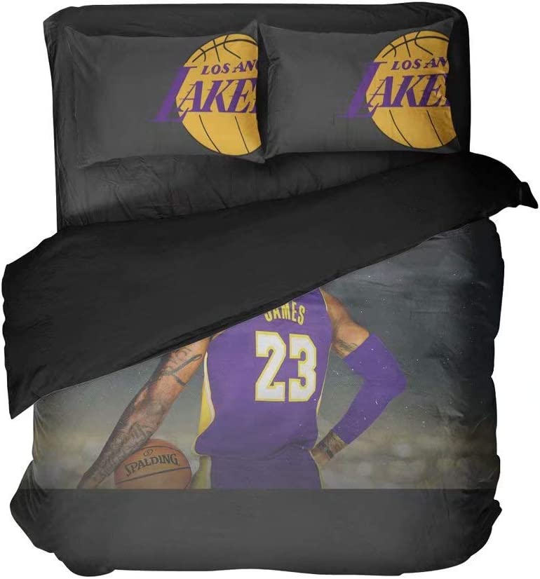 Maspt L.A.Basketball Sportsman Number 23 Bedding Flat Sheets Cool Double Graphics Sports Duvet Cover Sets 2 Pillowcases Twin 3 Pieces(Full 3pcs)