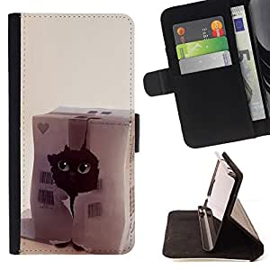 Momo Phone Case / Flip Funda de Cuero Case Cover - Gato divertido Corazón lindo del animal doméstico Negro Casa - HTC One A9